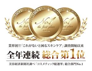 全年連続第一位受賞メダル